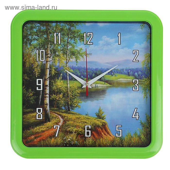"""Часы настенные квадратные """"Лесное озеро"""", 30х30 см  микс"""