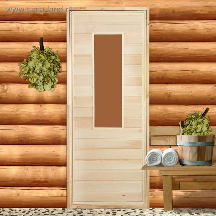 Дверь со стеклом №1, размер с коробкой 170*70 см, липа