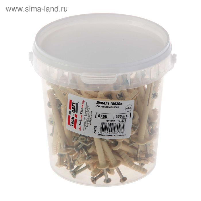 Дюбель-гвоздь 6L60, грибовидная манжета, нейлон, в ведре 100 шт.
