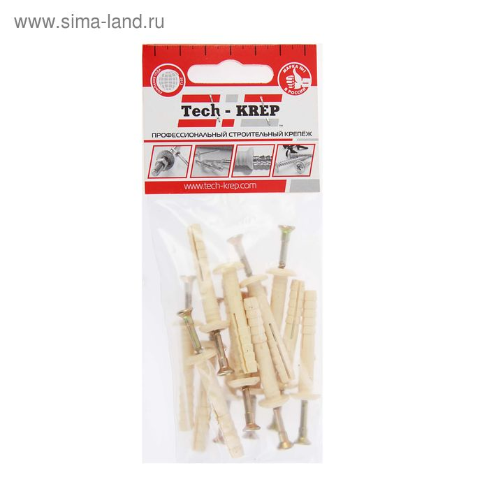 Дюбель-гвоздь 6L40, грибовидная манжета, нейлон, в пакете 12 шт.