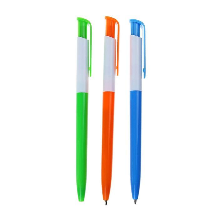 Ручка шариковая поворот пластик корпус МИКС стержень синий