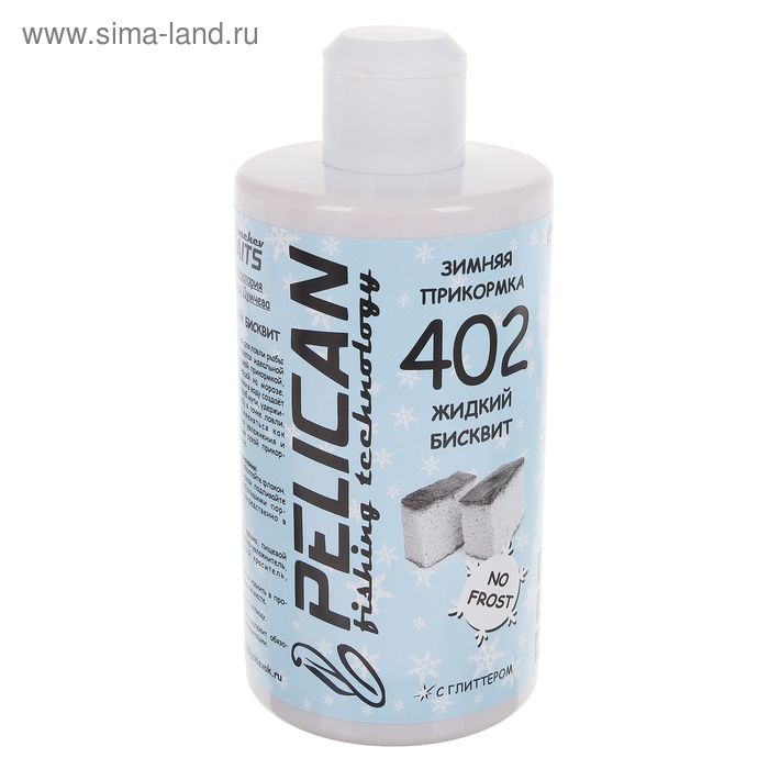 "Прикормка зимняя ""PELICAN"" жидкий бисквит с глиттером 402, объем 500 мл."