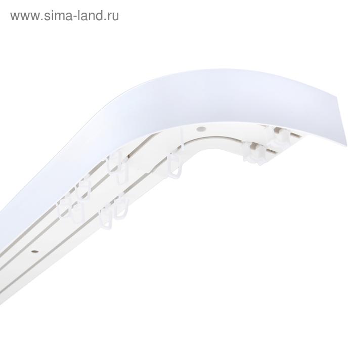 """Карниз с пластиковой декоративной планкой """"Ультракомпакт"""", 3 ряда, цвет белый, 180 см"""