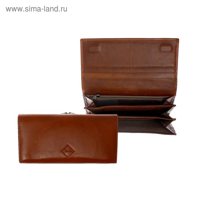 Кошёлек женский на кнопке, 3 отдела, 2 отдела на рамке, отдел для кредиток, наружный карман, глянцевый, коричневый