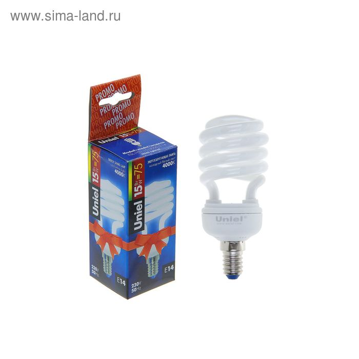 Лампа энергосберегающая Uniel, Е14, 15 Вт, свет холодный белый