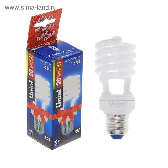 Лампа энергосберегающая Uniel, Е27, 20 Вт, свет тёплый белый