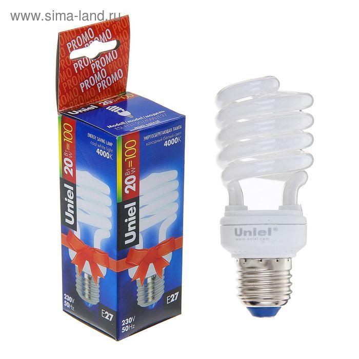 Лампа энергосберегающая Uniel, Е27, 20 Вт, свет холодный белый