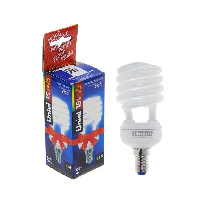 Лампа энергосберегающая Uniel, Е14, 15 Вт, свет тёплый белый