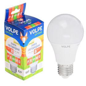Лампа светодиодная Volpe, Е27, 8 Вт, свет тёплый белый