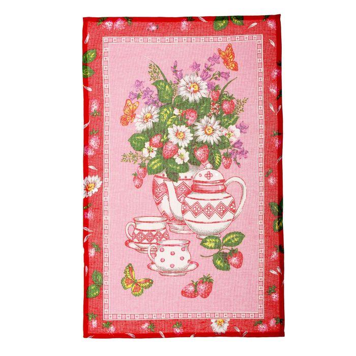 """Полотенце кухонное """"Collorista"""" Клубничный чай  47*70±2 см, 100% хлопок, рогожка, 162 г/м2"""