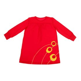 Платье для девочки с манжетами, рост 110 см (30), цвет красный