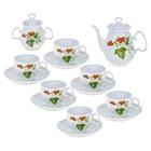 """Сервиз чайный """"Садочек"""", 14 предметов: чайник 850 мл, сахарница 350 мл, 6 чашек 250 мл, 6 блюдец 15 см"""