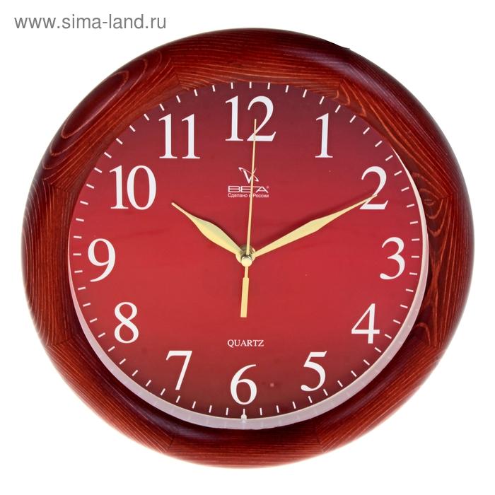 """Часы настенные круглые """"Классика"""", деревянные красные"""