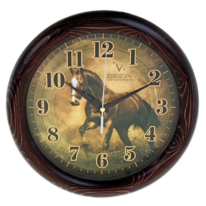 """Часы настенные круглые """"Конь"""", деревянные"""