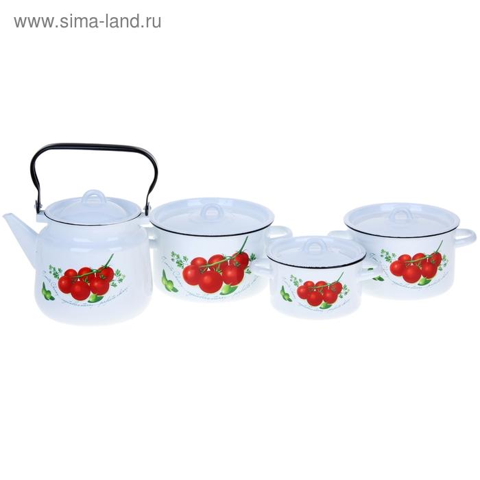 "Набор посуды ""Томаты"", 3 кастрюли: 1,5 л; 2,9 л; 3,9 л; чайник 3,5 л"