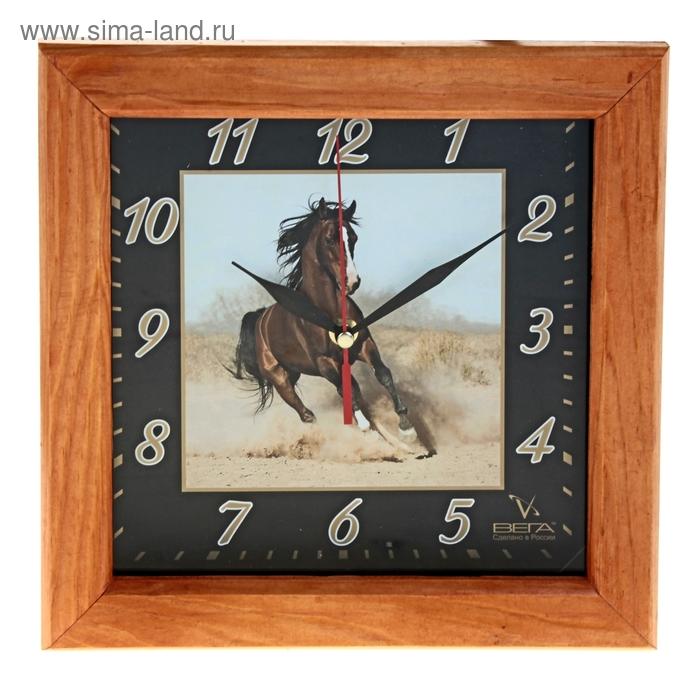 """Часы настенные квадратные """"Кони"""", деревянные"""