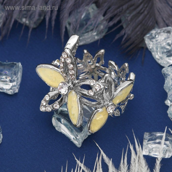 """Кольцо """"Цветочки"""" пятилистники, цвет белый в серебре, размер 16,17,18 МИКС"""