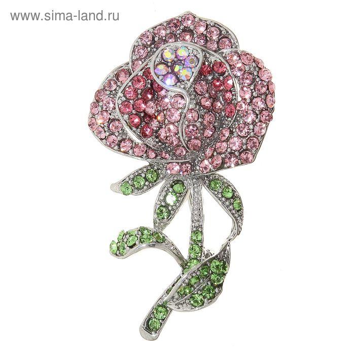 """Брошь """"Цветок"""" роза, цвет розово-зеленый в серебре"""