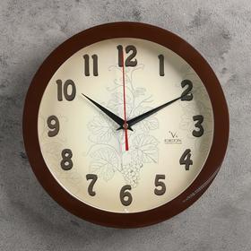 """Часы настенные круглые """"Лоза"""", d=30 см, ход плавный, коричневые"""