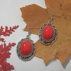 """Серьги """"Натурель"""" овал в кайме, цвет красный в серебре"""