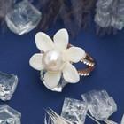 """Кольцо """"Цветочек"""" с жемчужинкой, цвет белый в золоте, размер 16,17,18 МИКС"""