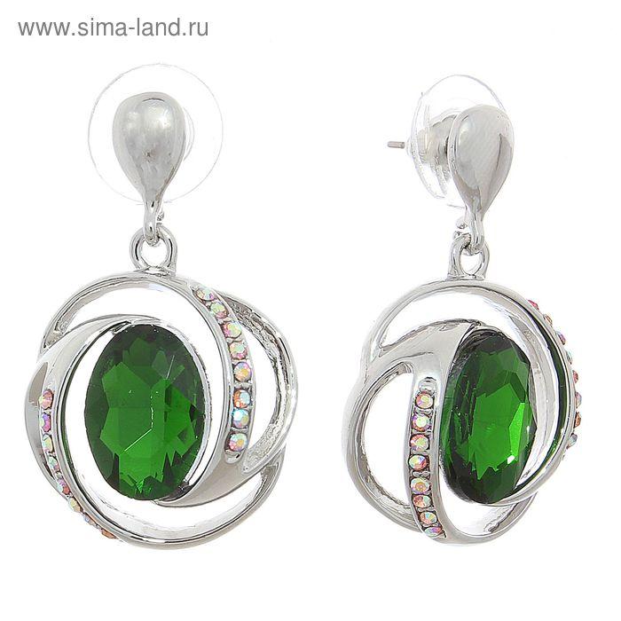 """Серьги со стразами """"Круг"""" орбита, цвет светло-зелёный в серебре"""