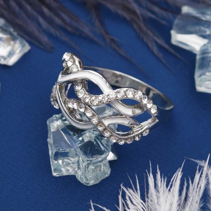 """Кольцо """"Плетение"""", цвет белый в серебре, размер 16,17,18 МИКС"""