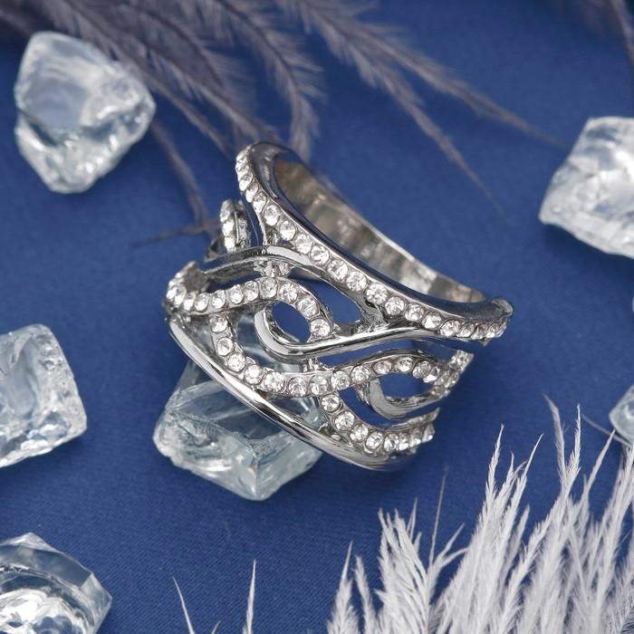 """Кольцо """"Узор"""", цвет белый в серебре, размер 16,17,18 МИКС"""