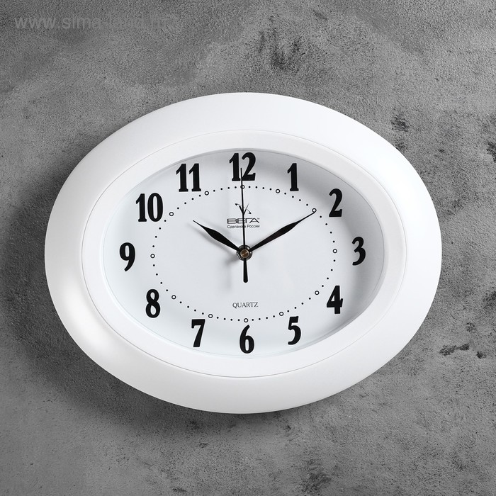 """Часы настенные овальные """"Беверли"""", белые"""