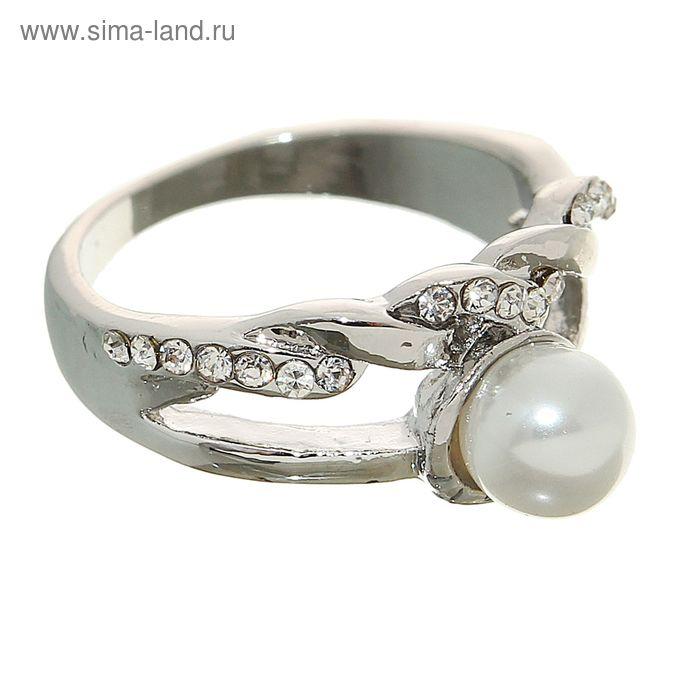"""Кольцо """"Жемчужина"""" два ряда, цвет белый в серебре, размер МИКС"""