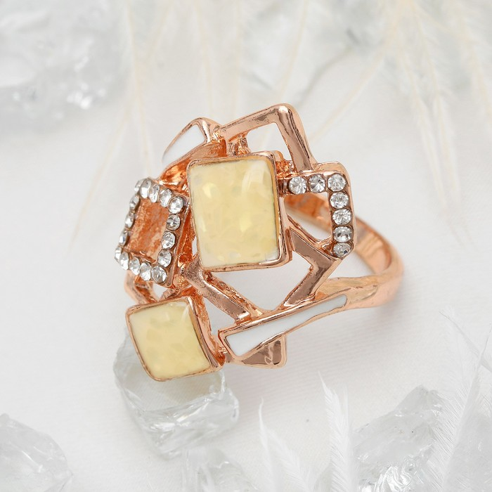 """Кольцо """"Прямоугольники абстрактные"""", цвет белый в золоте, размер 16,17,18 МИКС"""