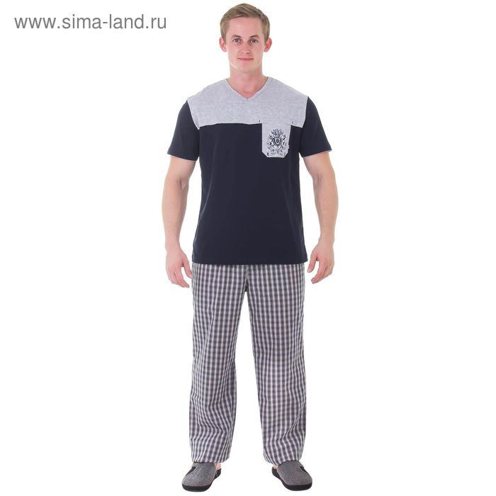 Пижама мужская М-718/2-26, меланж+т.синий, р-р 56