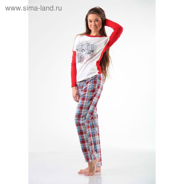 Джемпер+брюки М-246/1-26, экрю+красный, р-р 46