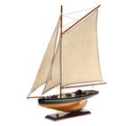 Корабль сувенирный большой «Одномачтовый», борта светлое дерево, паруса бежевые с полосами, 56,5 × 9 × 54 см