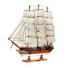 Корабль сувенирный большой «Трёхмачтовый», борта светлое дерево с белой полосой, паруса белые, 59 х 47,5 х 9 см