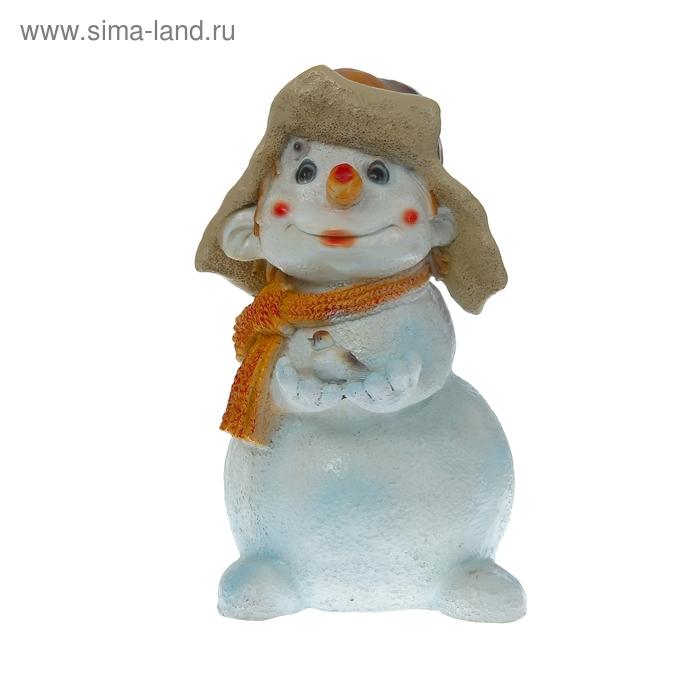 """Садовая фигура """"Снеговик с птичкой"""""""