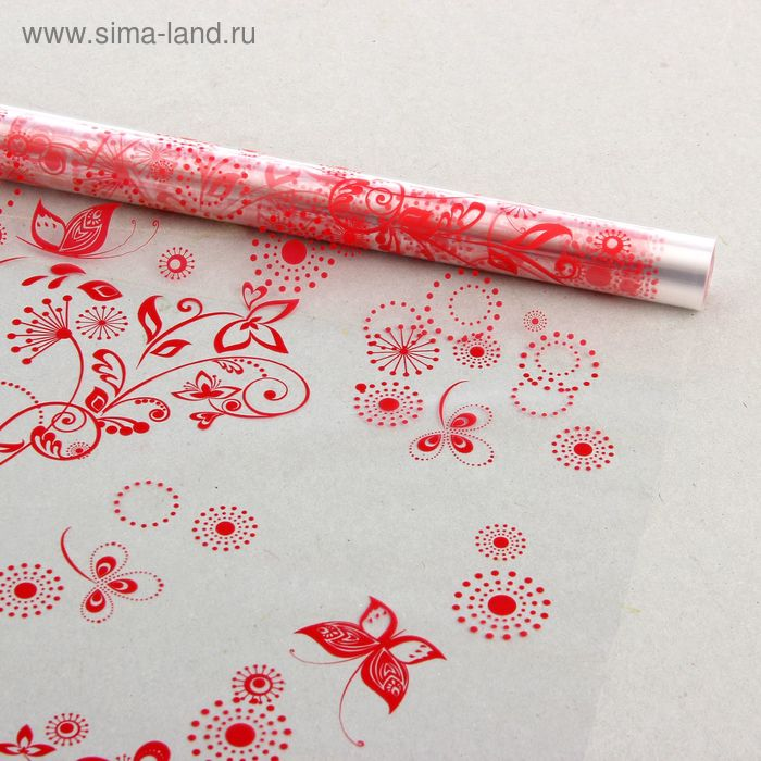 """Пленка для цветов """"Сабина"""" красный 700 мм х 8.5 м, 40 мкм"""