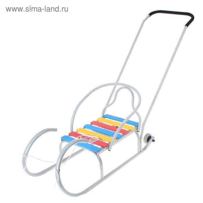 """Санки """"Лео-4вк"""" с колёсиками, с толкателем, цвет серебро"""