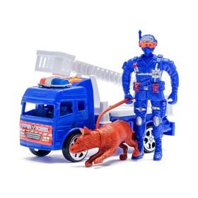 Машина инерционная «Пожарная», с пожарным и собакой, МИКС