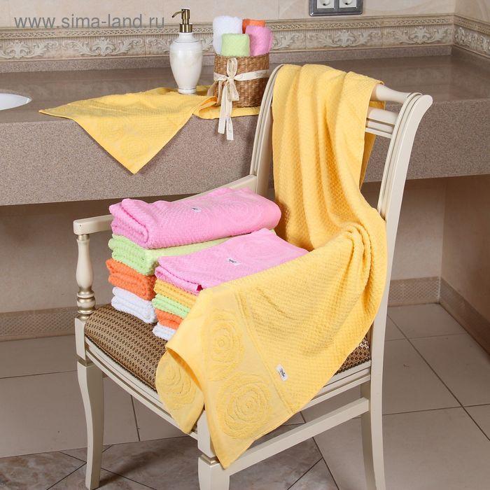 """Полотенце махровое """"Этель"""" Аморэ желтый 50*90 см, 100% хлопок, 400гр/м2"""