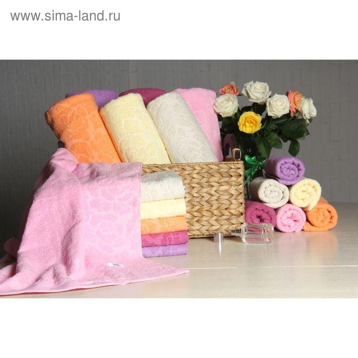 """Полотенце махровое """"Этель"""" Флоренция розовый 30*70 см, 100% хлопок, 400гр/м2"""