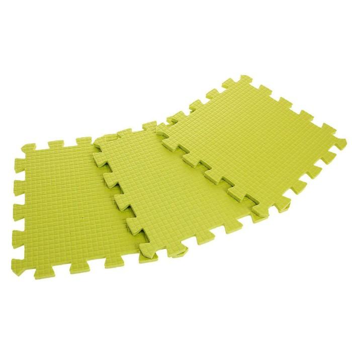 Детский коврик-пазл (мягкий), 9 элементов, толщина 0,9 см, цвет салатовый