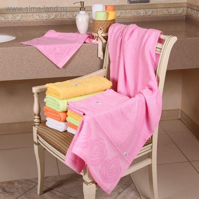 """Полотенце махровое """"Этель"""" Аморэ розовый 70*140 см, 100% хлопок, 400гр/м2"""