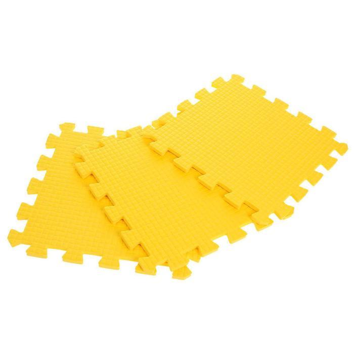 Детский коврик-пазл (мягкий), 9 элементов, толщина 0,9 см, цвет жёлтый