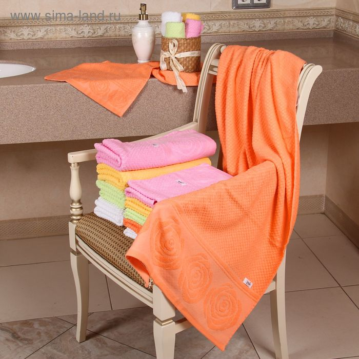 """Полотенце махровое """"Этель"""" Аморэ оранжевый 50*90 см, 100% хлопок, 400гр/м2"""