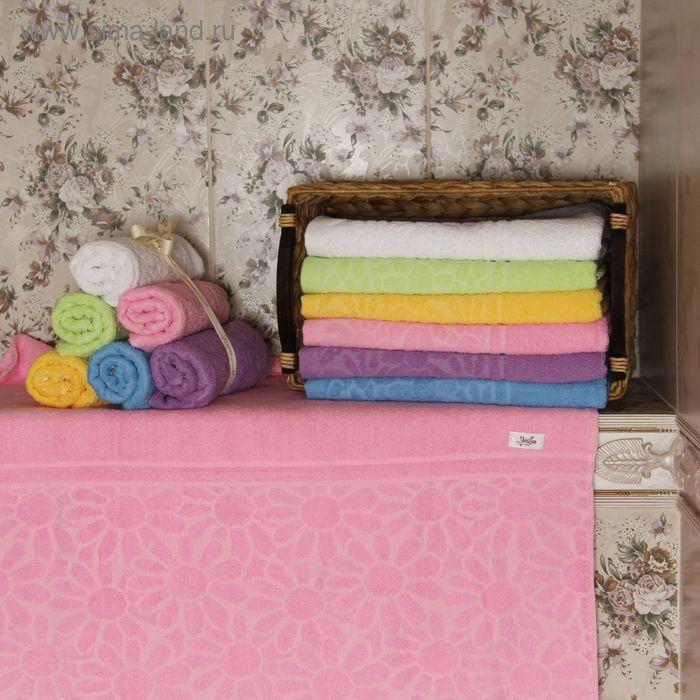 """Полотенце махровое """"Этель"""" Герберы розовый 50*90 см, 100% хлопок, 400гр/м2"""