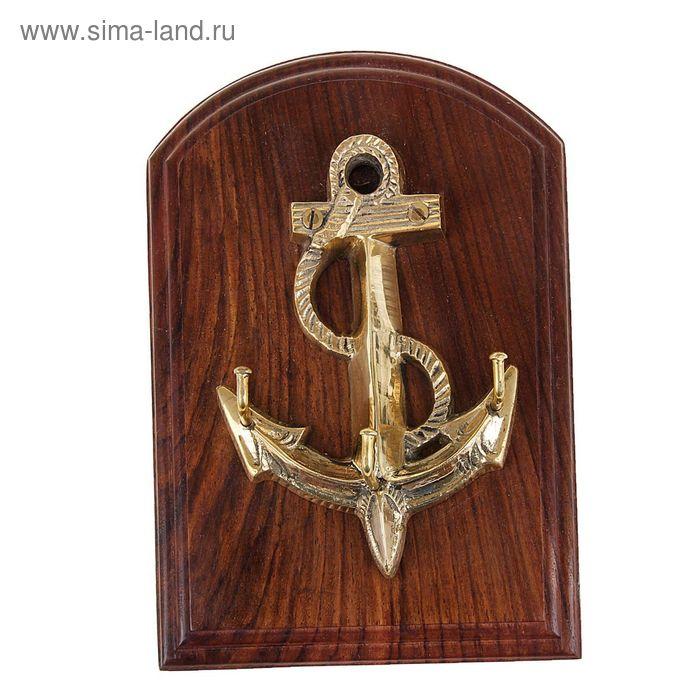 """Крючок на деревянной подставке """"Якорь"""""""