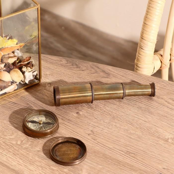 """Сувенирный набор в шкатулке """"Шкипер"""" (компас, подзорная труба)"""