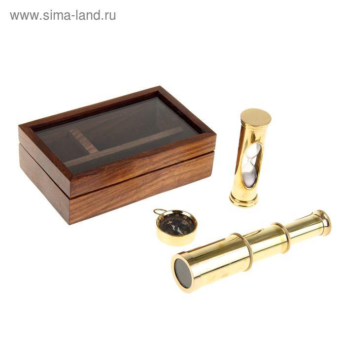 """Сувенирный набор в шкатулке """"Командор"""" (песочные часы, компас, подзорная труба)"""
