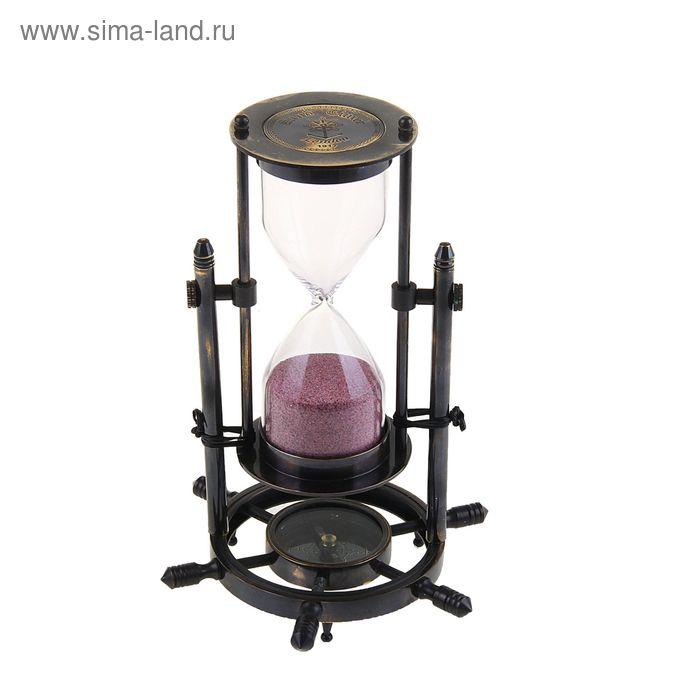 """Сувенирные песочные часы с компасом (5 мин) """"Время"""""""